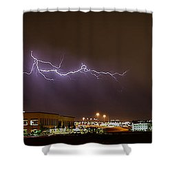 Lightning Bolt Over Suburbs Shower Curtain