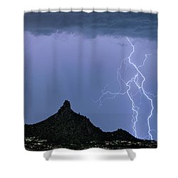 Shower Curtain featuring the photograph Lightning Bolts And Pinnacle Peak North Scottsdale Arizona by James BO Insogna