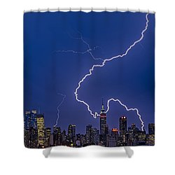 Lightning Bolts Over New York City Shower Curtain by Susan Candelario