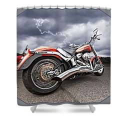 Lightning Fast - Screamin' Eagle Harley Shower Curtain