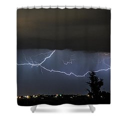 Shower Curtain featuring the photograph Lightning Over Amarillo by Karen Slagle