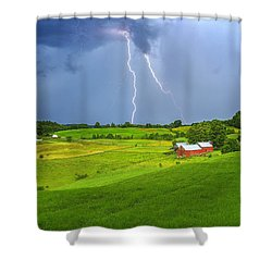 Lightning Storm Over Jenne Farm Shower Curtain