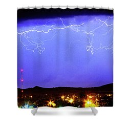 Lightning Over Loveland Colorado Foothills Panorama Shower Curtain by James BO  Insogna