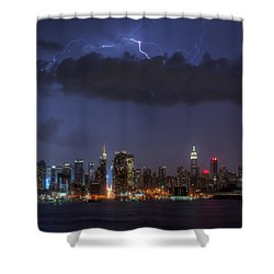 Lightning Over New York City I Shower Curtain by Clarence Holmes