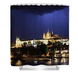 Shower Curtain featuring the photograph Lightning Over Prague Castle by Alex Lapidus