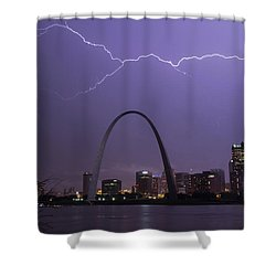 Lightning Over St Louis Shower Curtain by Garry McMichael