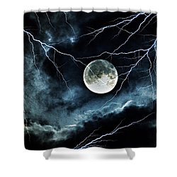 Shower Curtain featuring the photograph Lightning Sky At Full Moon by Marianna Mills