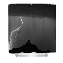 Lightning Storm At Pinnacle Peak Scottsdale Az Bw Shower Curtain by James BO  Insogna