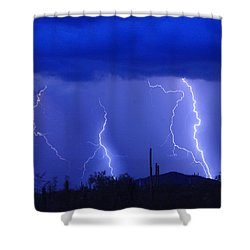 Lightning Storm In The Desert Fine Art Photography Print Shower Curtain by James BO  Insogna