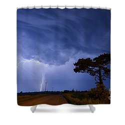 Lightning Storm On A Lonely Country Road Shower Curtain by Art Whitton