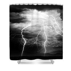 Lightning Storm Over The Plains Shower Curtain by Joseph Frank Baraba