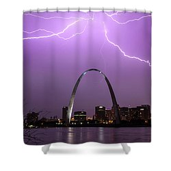 Lightning Storm Over The St Louis Arch Shower Curtain by Garry McMichael