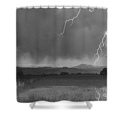 Lightning Striking Longs Peak Foothills 5bw Shower Curtain