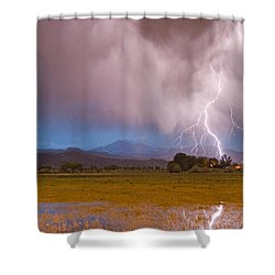 Lightning Striking Longs Peak Foothills 7c Shower Curtain by James BO  Insogna