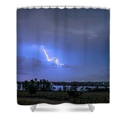 Shower Curtain featuring the photograph Lightning Striking Over Boulder Reservoir by James BO Insogna