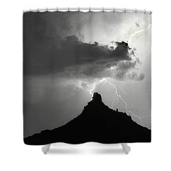 Lightning Striking Pinnacle Peak Arizona Shower Curtain by James BO  Insogna