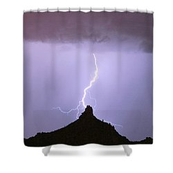 Lightning Striking Pinnacle Peak Scottsdale Az Shower Curtain
