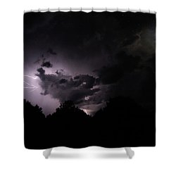 Lightning With Stars And Moon  Shower Curtain by Todd Krasovetz