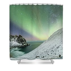 Lights Above Kvalvika Shower Curtain