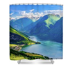 Shower Curtain featuring the photograph Lights And Shadows Of Sognefjord by Dmytro Korol