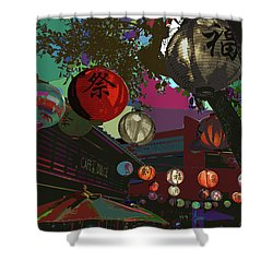 lights are on in little Tokyo Shower Curtain