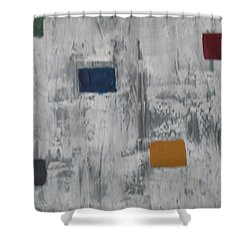 Shower Curtain featuring the painting Lights In A Blizzard by Sharyn Winters