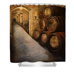 Lights In The Wine Cellar - Chateau Meichtry Vineyard Shower Curtain