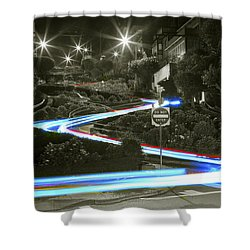 Lights On Lombard Black And White Shower Curtain