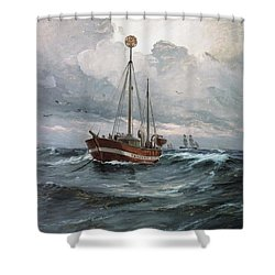 Lightship At Skagen Reef Shower Curtain by Pg Reproductions