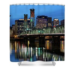 Ligth Trails On Hawthorne Bridge At Blue Hour Shower Curtain by David Gn