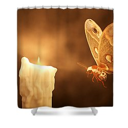 Like A Moth To A Flame Shower Curtain