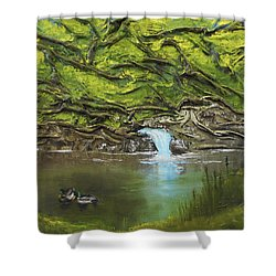 Shower Curtain featuring the mixed media Like Ducks On Water by Angela Stout