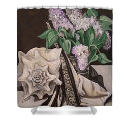 Shower Curtain featuring the painting Lilac And Lingerie by Laura Aceto