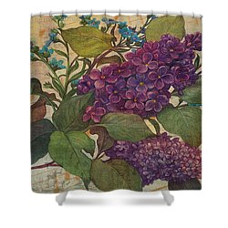 Shower Curtain featuring the painting Lilac Dreams Illustrated Butterfly by Judith Cheng
