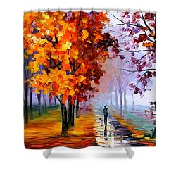 Lilac Fog Shower Curtain by Leonid Afremov
