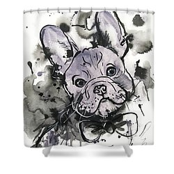 Lilac Frenchie Shower Curtain