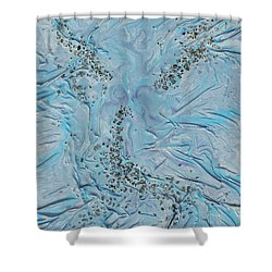 Shower Curtain featuring the mixed media Lilac Sunstones by Angela Stout