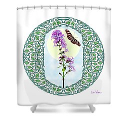 Shower Curtain featuring the digital art Lilac With Butterfly by Lise Winne