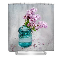 Shower Curtain featuring the photograph Lilacs In A Glass Jar Still Life by Louise Kumpf