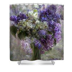 Lilacs Of Love Shower Curtain by Carol Cavalaris