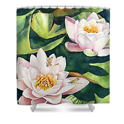 Lilies And Dragonflies Shower Curtain