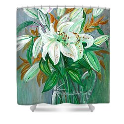 Lilies In A Glass Vase - Painting Shower Curtain by Veronica Rickard