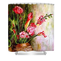 Shower Curtain featuring the painting Lilies In The Pots by Harsh Malik
