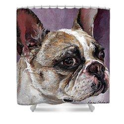 Lilly The French Bulldog Shower Curtain by Enzie Shahmiri