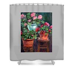 Lil's Geraniums Shower Curtain