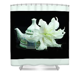 Lily And Teapot Shower Curtain