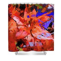 Lily Cobalt Orange Shower Curtain
