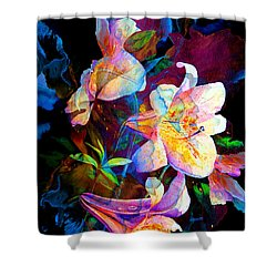 Shower Curtain featuring the painting Lily Fiesta Garden by Hanne Lore Koehler