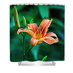 Lily In Woods Shower Curtain