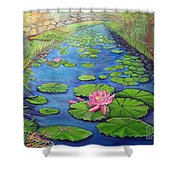 Water Lily Canal Shower Curtain by Ecinja Art Works